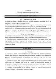 STATUTO Cooperativa Sociale in forma di SPA - Uscita di Sicurezza
