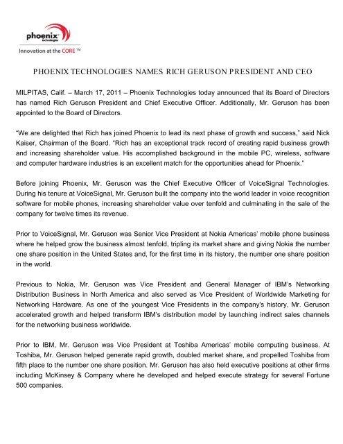 Phoenix Technologies Names Rich Geruson President and CEO