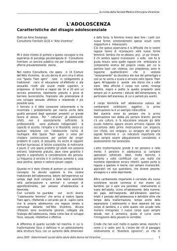 L'ADOLOSCENZA - Società Medico Chirurgica Vicentina