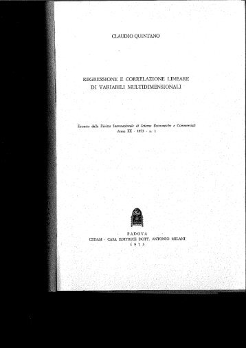 claudio quintano regressione e correlazione lineare di ... - Economia