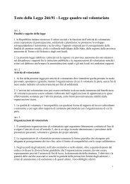 Legge quadro sul volontariato - Provincia di Sondrio