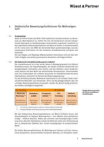 1 Hedonische Bewertungsfunktionen für Wohneigen - Wüest & Partner