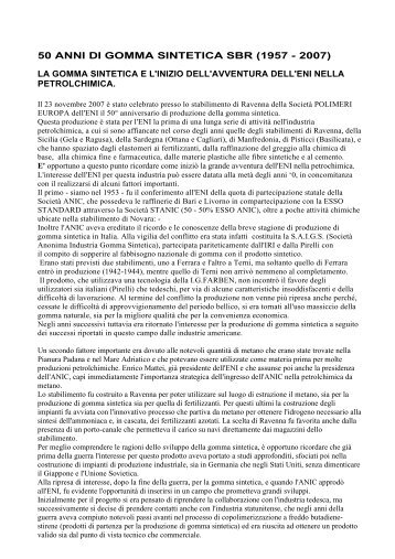 50 anni di gomma sintetica sbr (1957 - 2007) - associazione pionieri ...