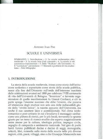 SCUOLE E UNIVERSITÀ - Itinerari Medievali