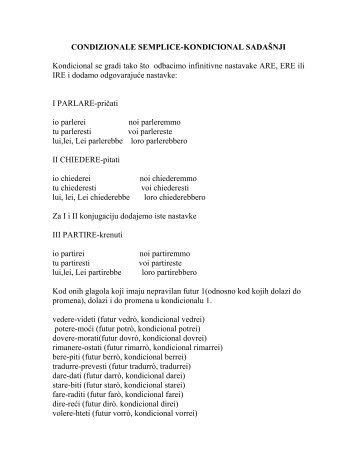 CONDIZIONALE SEMPLICE-KONDICIONAL SADAŠNJI Kondicional ...