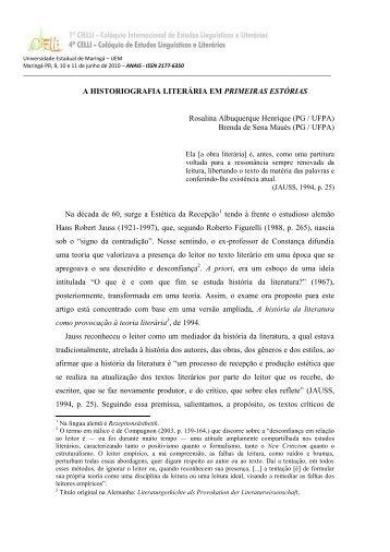 A HISTORIOGRAFIA LITERÁRIA EM PRIMEIRAS ESTÓRIAS ... - Cielli