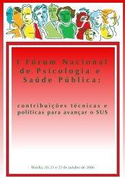 I Fórum Nacional de Psicologia e Saúde Pública - CRP-RJ
