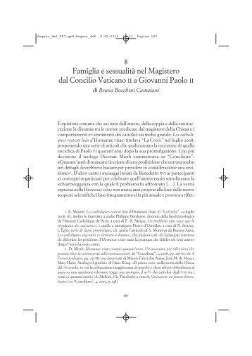 8 Famiglia e sessualità nel Magistero dal Concilio Vaticano II a ...