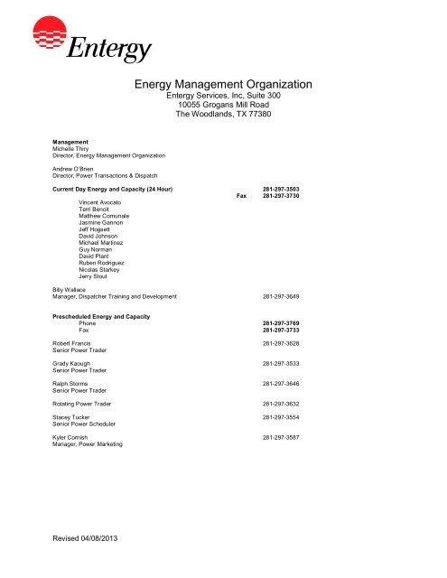 Energy Management Organization - Entergy