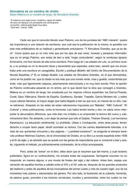 Almudena Es Un Nombre De Chotis La Fiera Literaria