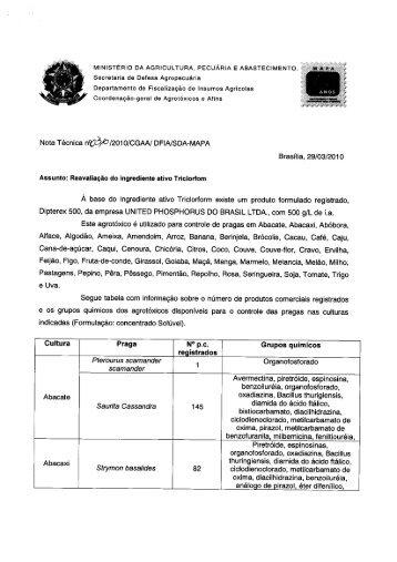 Reavaliação i.a. Triclorfom - Ministério da Agricultura, Pecuária e ...