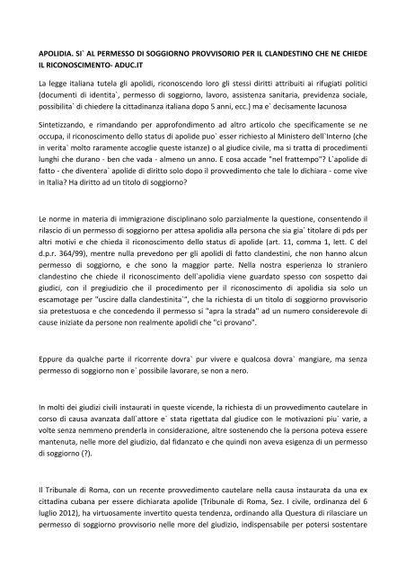 APOLIDIA. SI` AL PERMESSO DI SOGGIORNO ... - Avv. Paolo Nesta