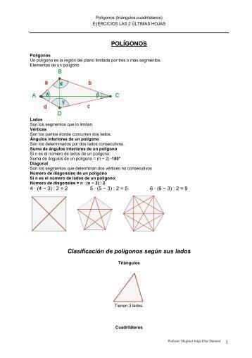 POLÍGONOS Clasificación de polígonos según sus lados