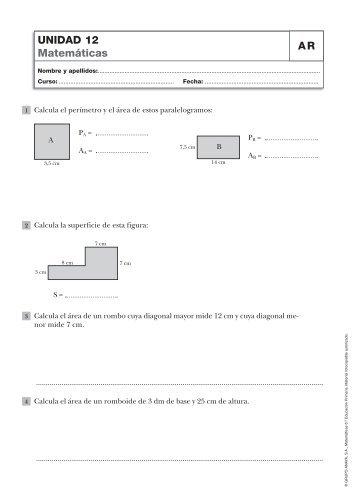 UNIDAD 12 Matemáticas AR - Recursos primaria