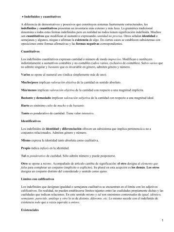Indefinidos y cuantitativos • A diferencia de demostrativos y ...