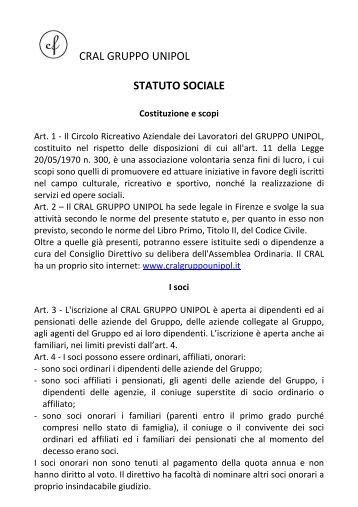 CRAL GRUPPO UNIPOL STATUTO SOCIALE