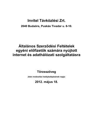 Invitel Távközlési Zrt. Általános Szerződési Feltételek egyéni előfizetők