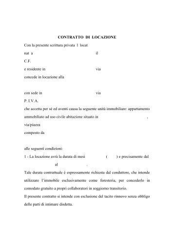 Bozza contratto di affitto d 39 azienda bar terminal - Contratto d affitto uso foresteria ...