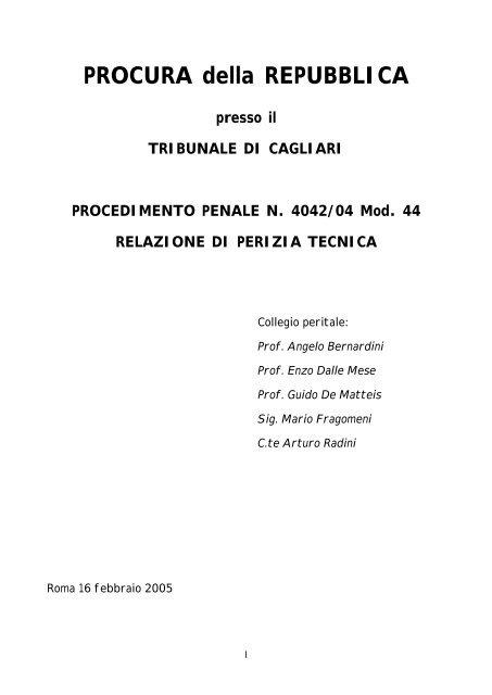 Relazione di perizia tecnica dei consulenti tecnici del PM - ANACNA