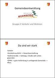 Protokolle Gruppe 2 - Verkehr - Wohnen - Umwelt - Wurmberg