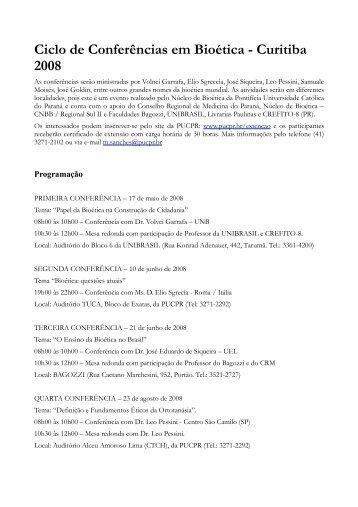 Ciclo de Conferências em Bioética - Curitiba 2008 - CRM-PR