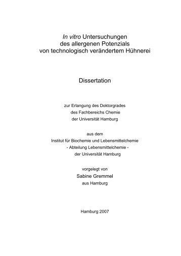 In vitro Untersuchungen des allergenen Potenzials - Chemie ...