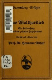 Das Waltharilied; ein Heldensang aus dem zehnten Jahrhundert, im ...