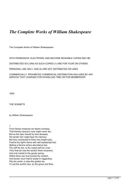 The Complete Works of William Shakespeare - Full Text Archive