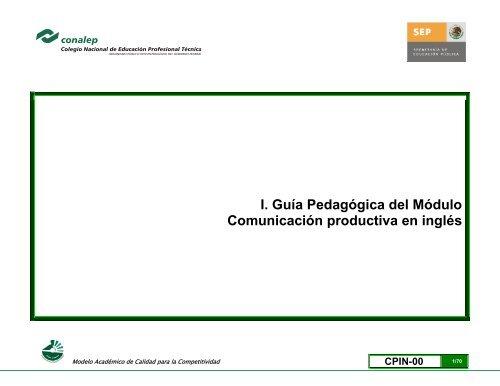 I Guía Pedagógica Del Módulo Comunicación Productiva En Inglés