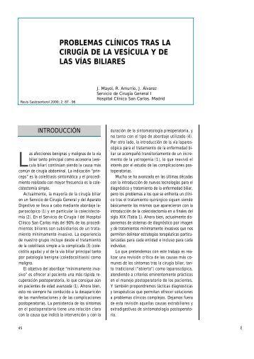 problemas clínicos tras la cirugía de la vesícula y de las vías biliares