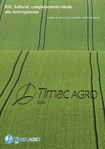 KSC Sulfacid, completamento ideale alla fertirrigazione - TIMAC Agro