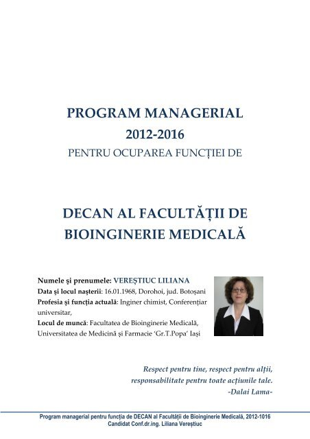 Program managerial Liliana Verestiuc - Gr.T. Popa