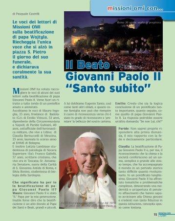 """Il Beato Giovanni Paolo II """"Santo subito"""" - Missionari OMI"""