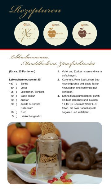 "Rezepturen ""Lebkuchenmousse, Mandelkrokant ... - herbacuisine"