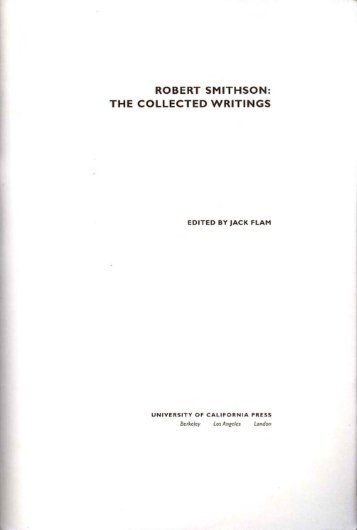 ROBERT SMITHSON: THE COLLECTED WRITINGS - iSites