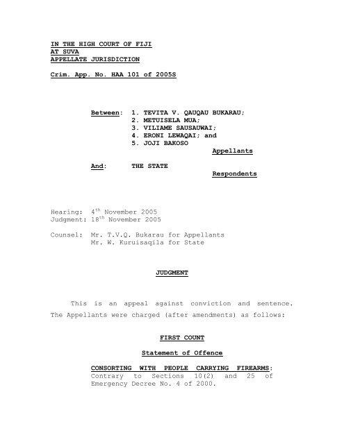 Tevita V Q Bukarau v State HAA101J 05S - Law Fiji