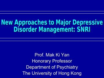 New Approaches to Major Depressive Disorder Management: SNRI