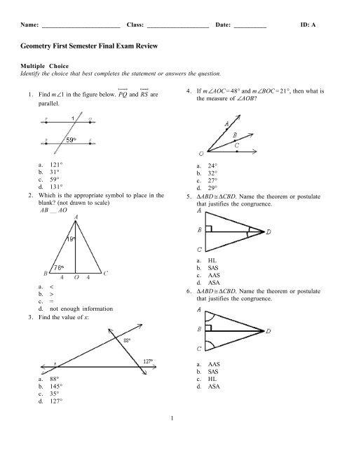 Geometry Midterm Exam Answers 2018