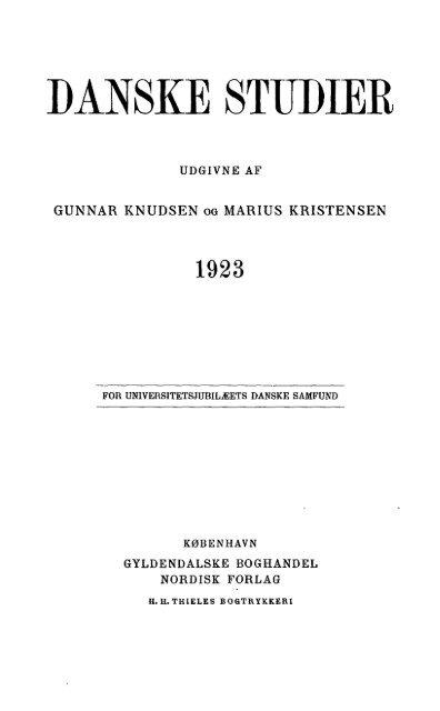 Danske Studier. 1923
