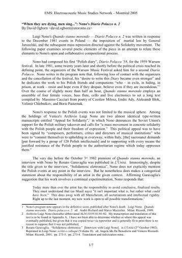 Nono's Diario Polacco n. 2 - Electroacoustic Music Studies Network