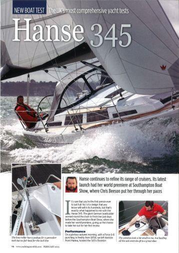 Hanse 345 Yachting Monthly Test Report - Hanse Yachts UK