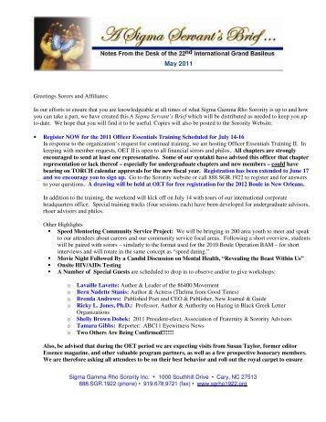 ASigmaServant'sBriefMAY2011 1 - Sigma Gamma Rho Sorority, Inc.