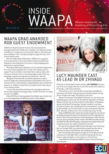 Inside WAAPA Issue #25 - Western Australian Academy of ...