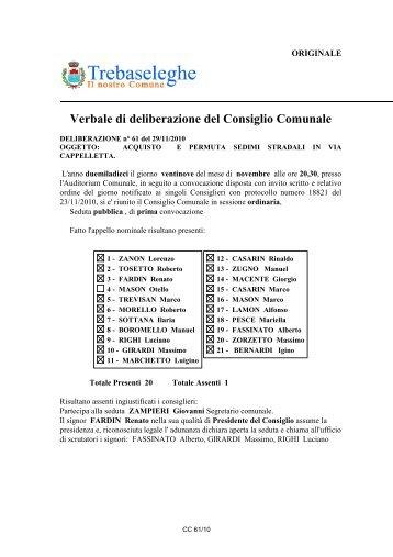 Verbale di deliberazione del Consiglio Comunale - Comune di ...