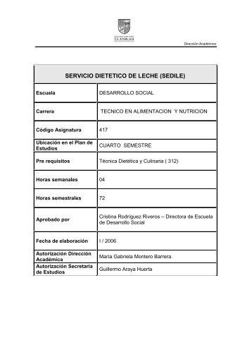 SERVICIO DIETETICO DE LECHE (SEDILE) - La Araucana