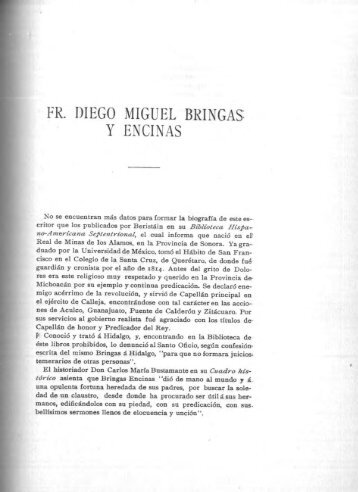 FR. DIEGO MIGUEL BRINGAS: Y ENCINAS - Bicentenario