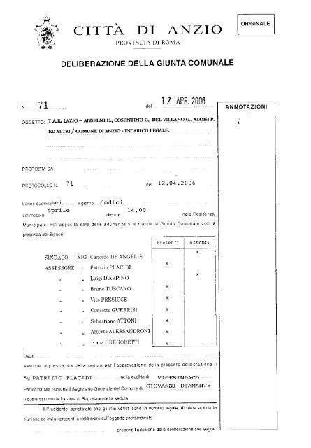 T A R  Lazio- Anselmi E , Cosentino C , Del Villano - Comune