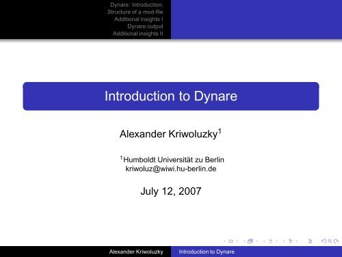 Introduction to Dynare