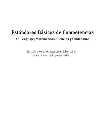 Estándares básicos de competencias en lenguaje, mátematicas ...