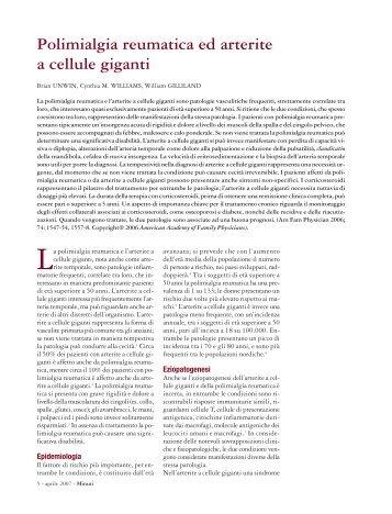 Polimialgia reumatica ed arterite a cellule giganti - Fondazione ...